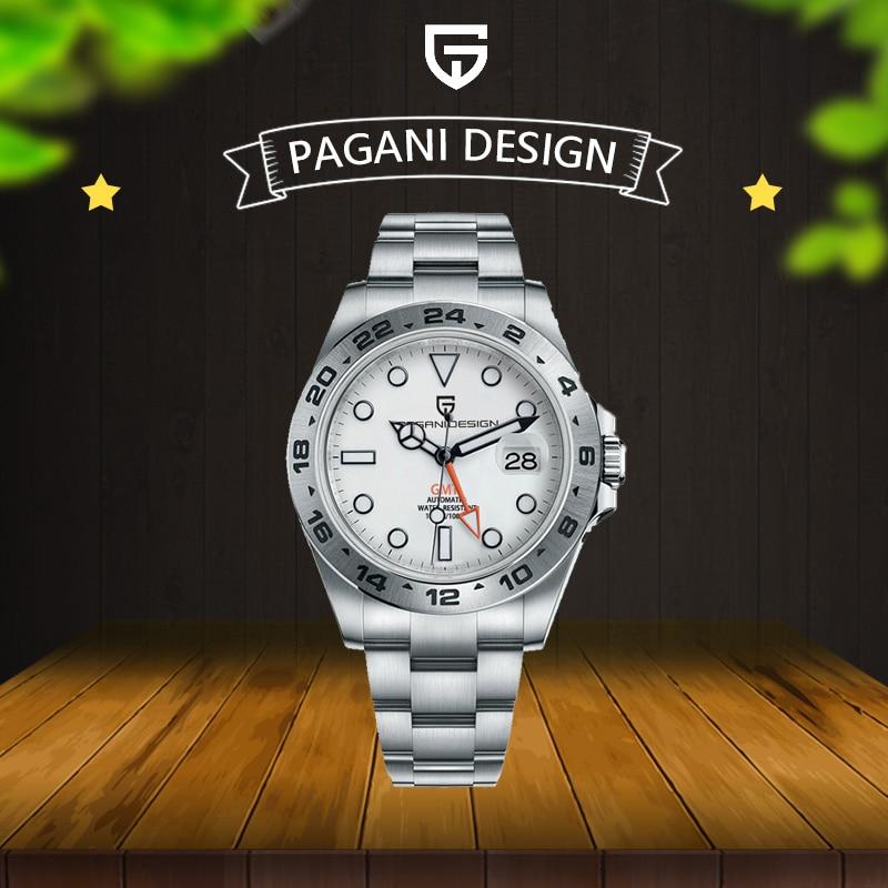2021 PAGANI تصميم الرجال GMT ساعة الفولاذ المقاوم للصدأ الفاخرة السيارات الميكانيكية ساعة اكسبلورر 2 العسكرية مقاوم للماء ساعة Reloj Hombre