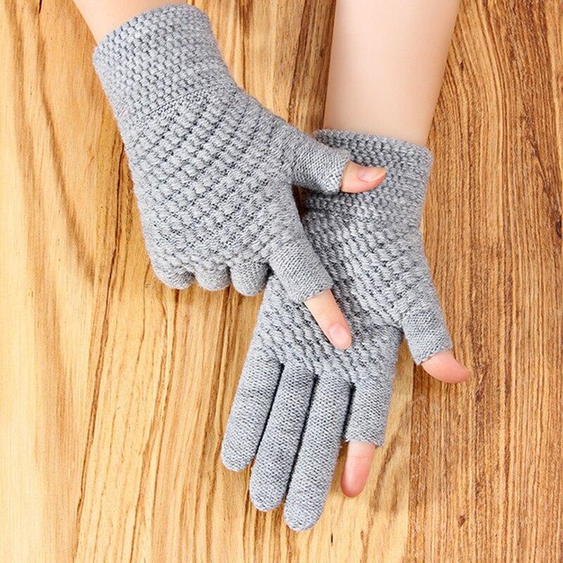 Hiver gants pour homme femme chaleur bureau épais tricoté laine deux doigts exposés écriture jeux jouer téléphone gants sans doigts