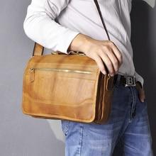 Original Leather Male Casual Tote Messenger bag Satchel Design Crossbody One Shoulder bag School Col