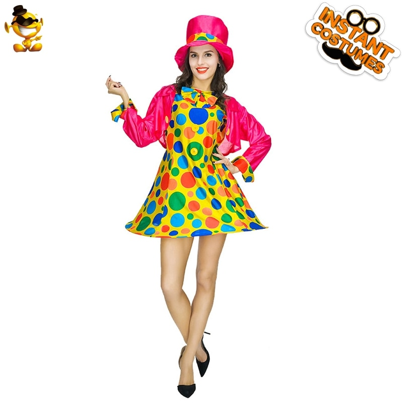 Clown Costume for Woman Colorful Spots Dress with Ring Adult Women Stage Costume Halloween Cosplay Outfit newly halloween female death dress terror skull role playing suit cloak stage costume for women te889