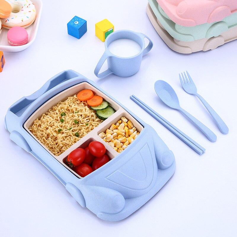 Coche avión dibujos animados bebé alimentos contenedores bambú fibra chico alimentación Bento caja taza Set niños vajilla tazón de Mantel regalo
