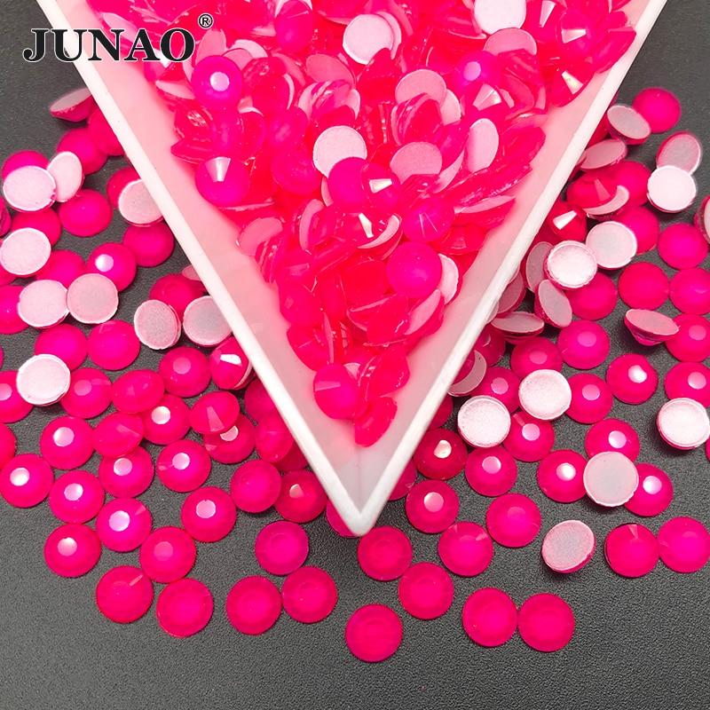 JUNAO SS16 SS20 Neon Rose Color Glass Nail Rhinestone Round Crystal Stone Applique Flatback Diamond Strass Garment Crafts