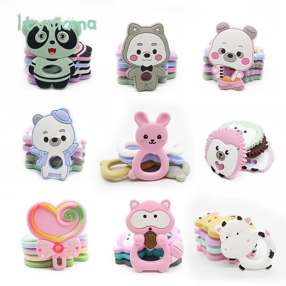 Clearance at a low price! 1pcs Baby Silicone Teethers Animal Rabbit Dinosaur Bear Baby Teething Prod