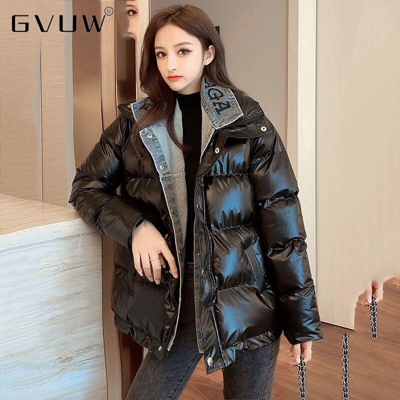 GVUW الشتاء الدنيم الربط القطن مبطن الملابس النسائية القطن وسادة مبطنة معطف سميكة مشرق الوجه وهمية اثنين أسفل KB4131
