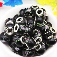 10pcslot 16mm big size round flower large hole murano spacer european glass beads charms fit pandora bracelet diy jewelry craft