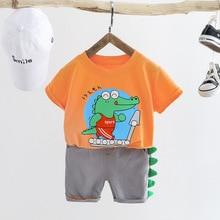 Tenue dété pour bébé garçon   T-shirt à manches courtes + Short, design de dessin animé, 2 pièces, pull en coton, pour survêtement, pour enfants de petit garçon