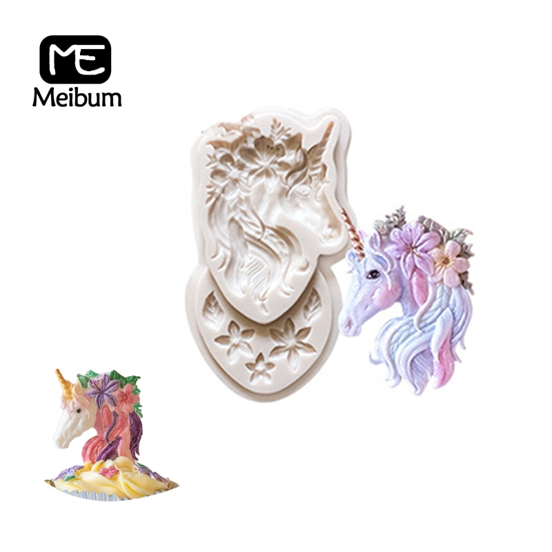 Nuevo unicornio flor forma de caballo molde de silicona pastel fondant de chocolate molde decorativo goma pasta recipiente para masa herramientas para hornear