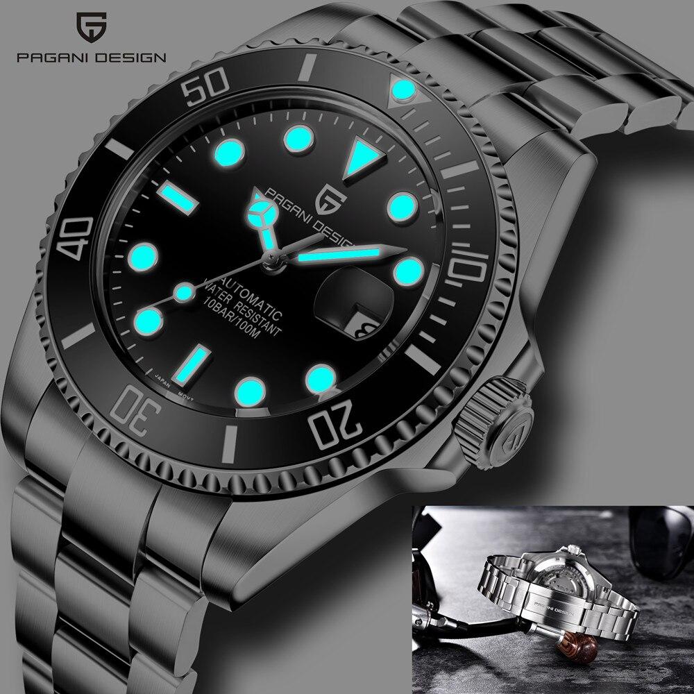 Pagani تصميم العلامة التجارية الياقوت السيراميك الحافة مضيئة الساعات مقاوم للماء 100 متر الميكانيكية التلقائي ساعة رجالي ساعة الأعمال الرجال