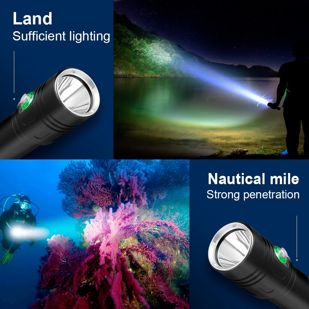 200m Underwater Professional LED Diving FlashlightS Highest Waterproof Rating Scuba Light Rechargeable 18650 26650 Diving Torch enlarge