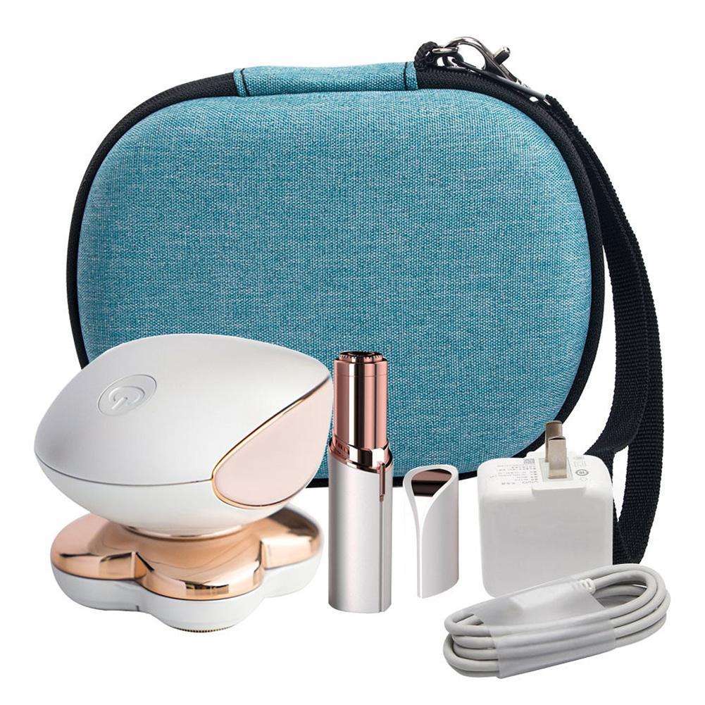 Eva portátil de armazenamento transportando caso difícil saco organizador viagem para mulheres removedor de cabelo navalha eletrônico cosméticos saco de armazenamento de maquiagem