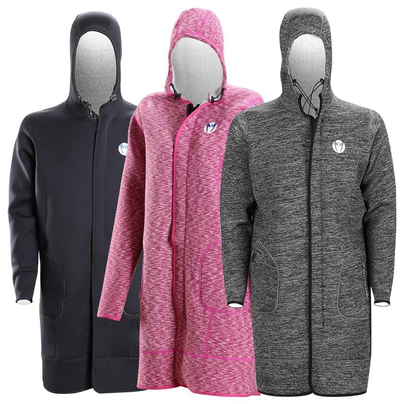 MEN  WOMEN  Long Knee-length Diving Coat Sunblock Neoprene Diving Long Hooded Coat Wetsuit quick drying Dive Jacket