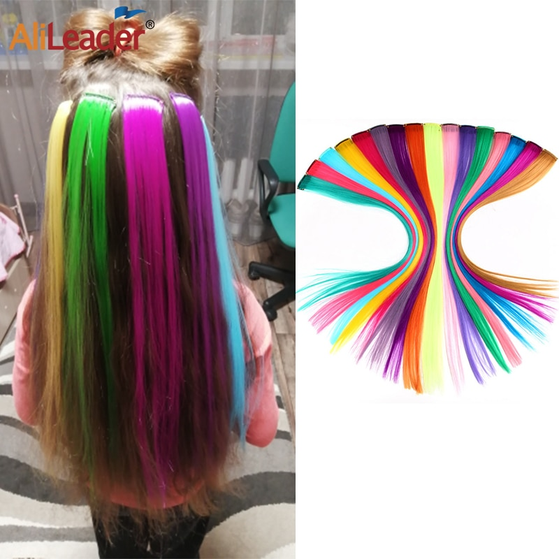 Allileader Synthetic Hair 50Cm Long Straight One Clip In Hair Extensions One Piece 57Color Ombre Synthetic Hair Extension Clip