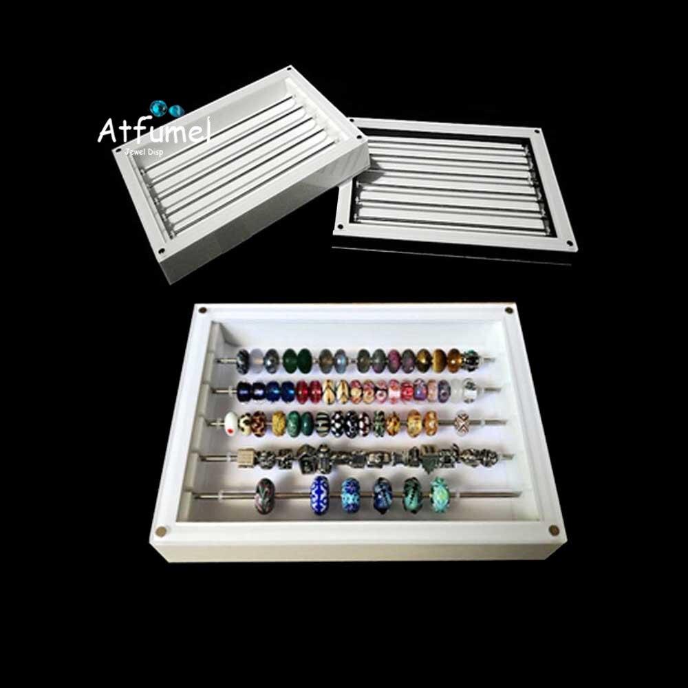 Cubierta magnética cuentas acrílicas caja de joyería encantos almacenamiento organizador caja DIY pulsera Collar Cuentas bandeja de almacenamiento de joyas Serado caja