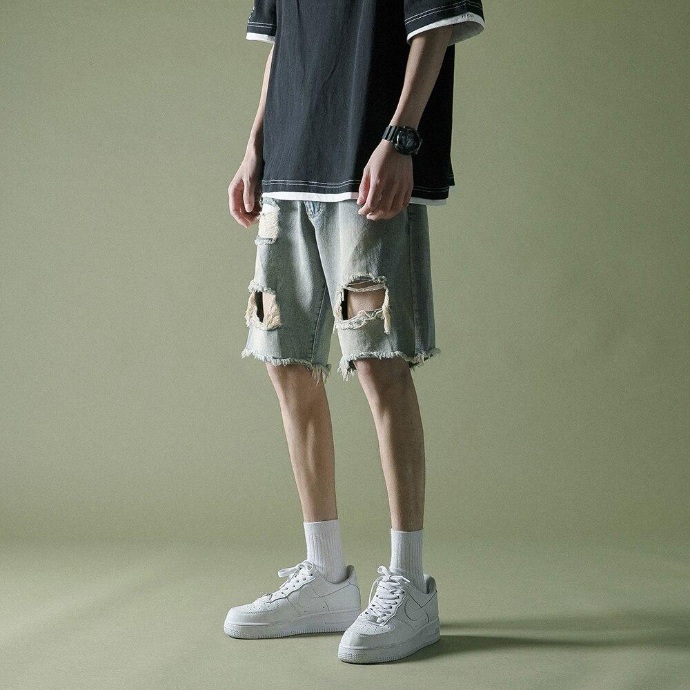 Летние фактурные рваные шорты джинсы мужские черные/синие джинсы брюки стрейч уличной моды мужские джинсы прямые укороченные джинсы Hombre