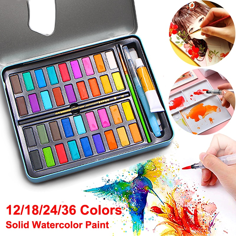 paul rubens 12 24 48 watercolor paint set with metal case solid artist water color painting pigment for drawing art supplies 12/18/24/36 Color Solid Watercolor Paint Set for Children Drawing Water Color Brush Box Set Pigment Painting Art Supplies