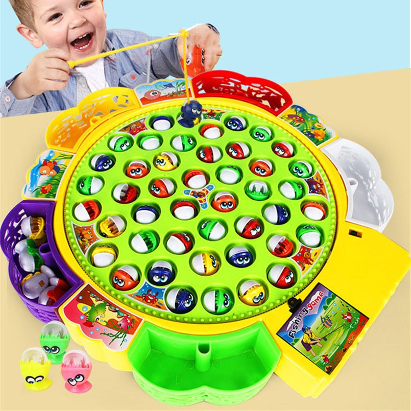 Electric Musical Rotating Fishing Toy Children Board Play Fish Game Magnetic Fish Outdoor Sports Edu