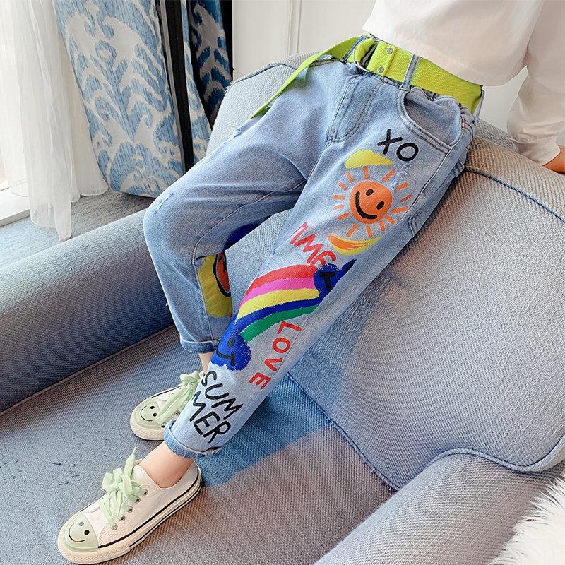 Горячие предложения джинсы для девочек подростков, Детская 8 12Yrs высокое качество граффити живопись печати повседневные штаны с рисунком из мультфильма; Штаны Джинсы    АлиЭкспресс