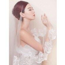 150cm Women Bridal Short Wedding Veil White One Layer Lace Flower Edge Appliques wedding accessories for women bride