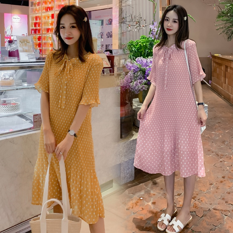 Ppregnancy Dress Butterfly Knot Point Ruffle Maternity Gown Fashion Go Out Chiffon Maternity Dresses Korean Pregnancy Clothes