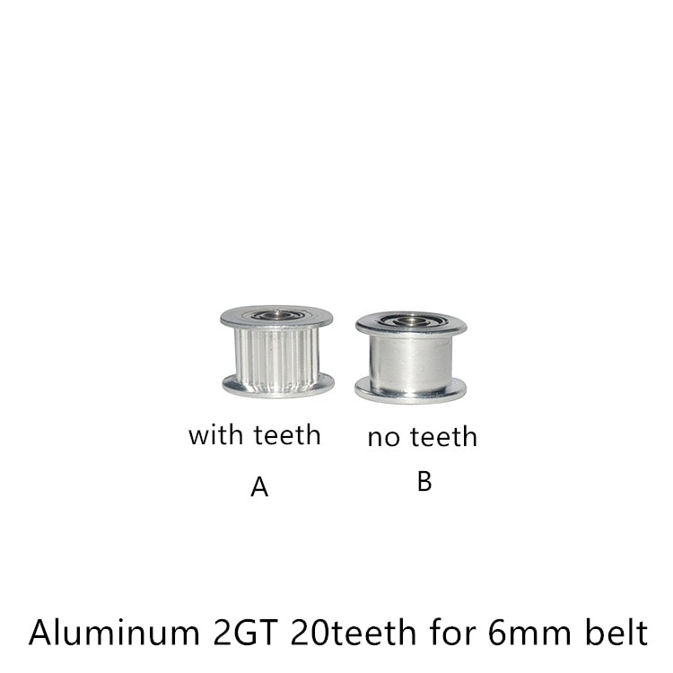 2GT 20 Teeth synchronous Wheel Idler Pulley Bore 3mm 4mm 5mm with Bearing for GT2 Timing belt width 6mm 20teeth 20T