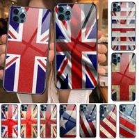 uk flag glass case for iphone 12 11 pro max 12pro xs max xr x 7 8 plus se 2020 case tempered back cover