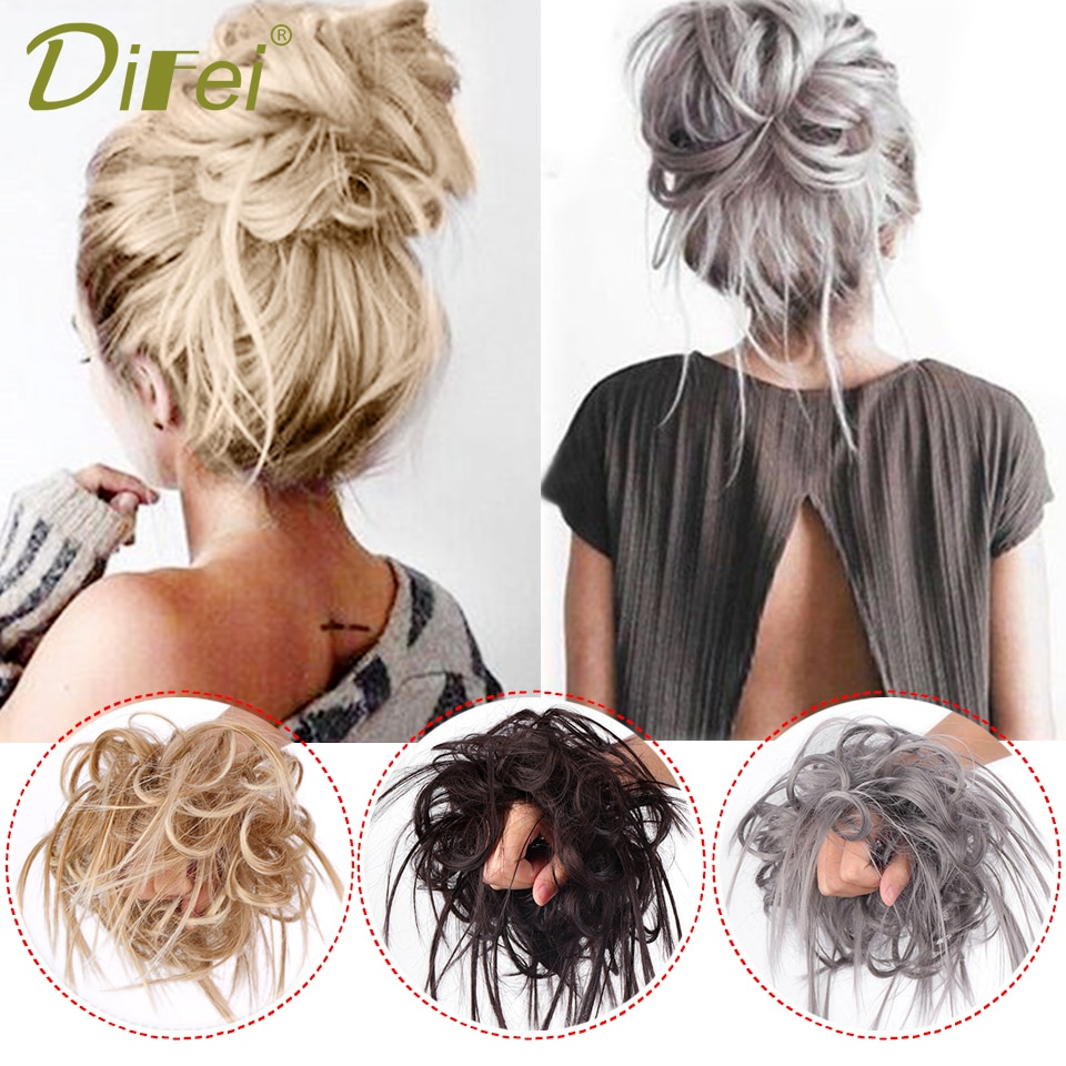 DIFEI Synthetic Messy Scrunchies Donut Chignon Curly Elastic Band Bun Hairpieces Wrap On Ponytail Hair Extensions for Women