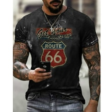 6 Shiel-European and American street short-sleeved T-shirt road letter printing T-shirt No. 66 stree