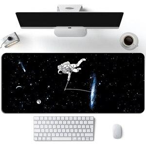 Black Astronaut Gaming Mouse Pad Gamer Cute  Speed XL Mouse Pad Universe Planet Otaku Keyboard Pad Girl LaptopComputer Desk Mat