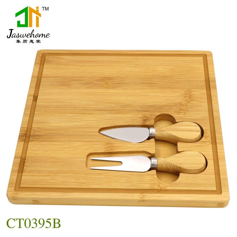 Jaswehome 3 قطعة طقم ألواح للجبن سكاكين مع لوح مصنوع من خشب الخيزران مطبخ لوح الخدمة أدوات الجبن أدوات المائدة Charcuterie صينية