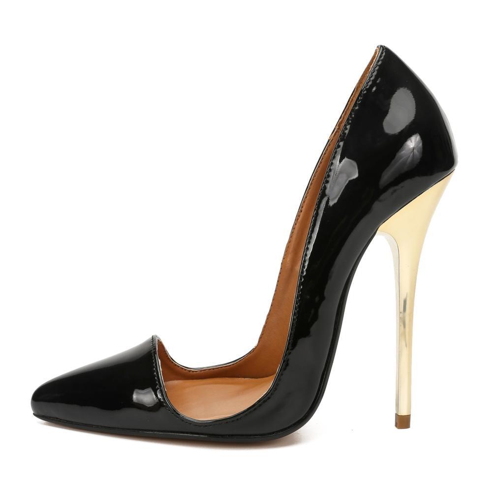 Feminino stiletto sapatos primavera/outono apontou toe sapatos feminino 14cm salto continental zapatos mujer sexy exegang bombas tamanho 40-49