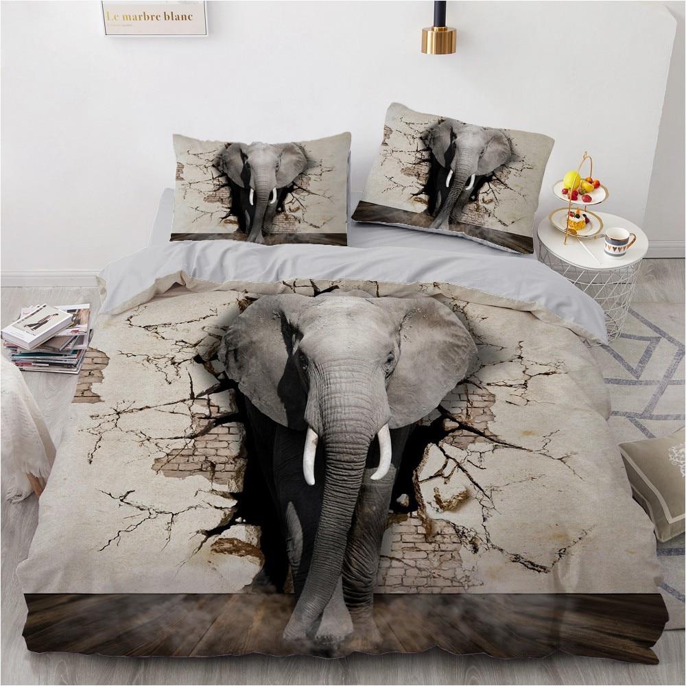 الفراش مجموعات ثلاثية الأبعاد مخصص حاف مجموعة تغطية مبطنة المعزي أغطية سرير المخدة الملك الملكة كامل الحيوان الفيل 260x220 سنتيمتر حجم
