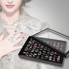 Caja de exhibición del anillo de las rejillas 100 caja de la bandeja de transporte caja de almacenamiento organizador de la pulsera pendiente/pendiente de la oreja caja de joyería de la mujer