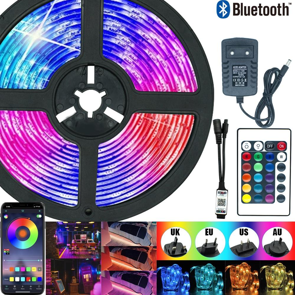 Tira de luces LED con Bluetooth, cinta de lámpara Flexible con diodo,...