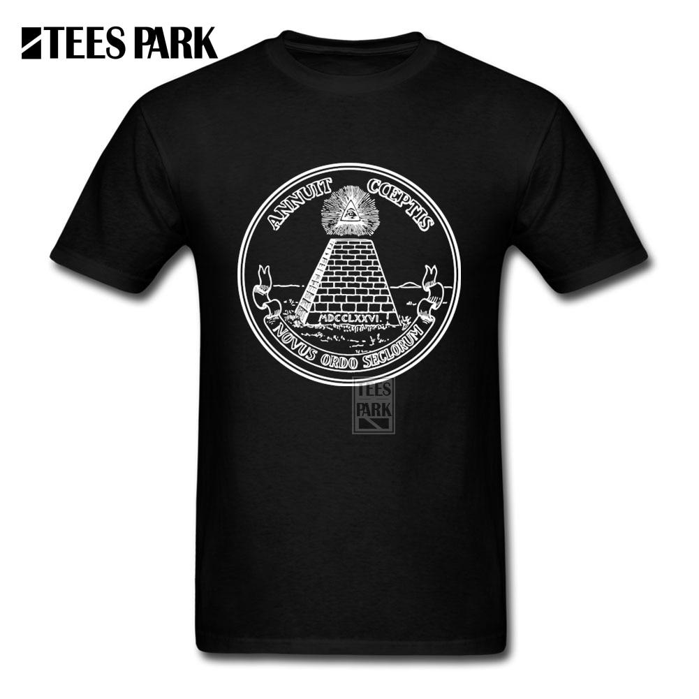 Camisetas Hombre All Seeing Eye piramide Dollar Freemason Dios illuminati Slim Fit Camiseta de manga corta Cool hombre divertido T camisas