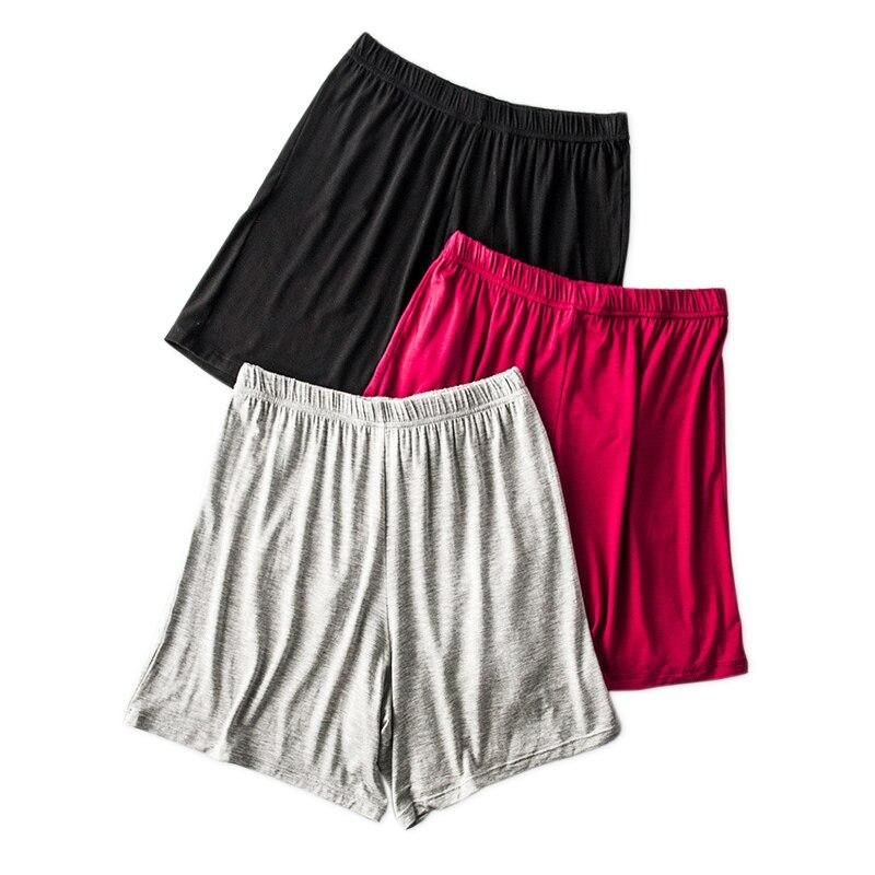 Mais tamanho verão modal sleep shorts feminino cor pura casual fechar encaixe bottoms calças de segurança curtas