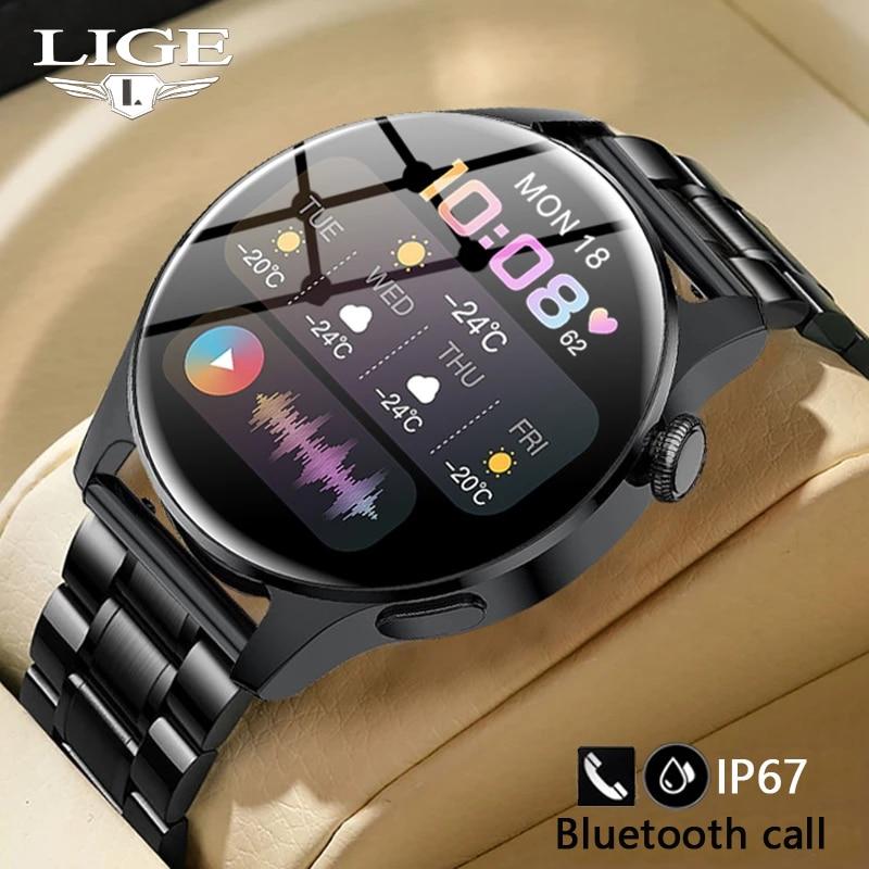 LIGE New Bluetooth Call Smart Watch Men Full Touch Sport Fitness Watches Waterproof Heart Rate Steel