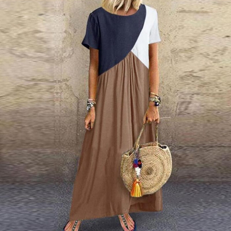 2020 Women Sundress Long Maxi Dresses Female Summer Casual Dress Short Sleeve Patchwork Color Loose Plus Size Vestidos