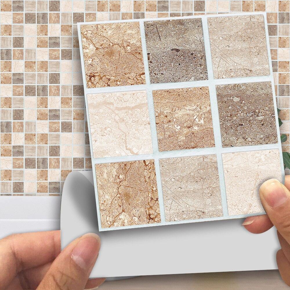 Adhesivos para baldosas 3D, adhesivos para pared, mosaico de mármol, decoración para el hogar, sala de estar, cocina DIY, papel tapiz impermeable para cuarto de baño