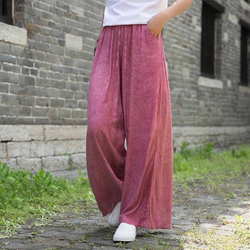 بنطلون نسائي عتيق ، بنطلون واسع الساق ، صبغ التعادل ، ايوسل ، غير رسمي ، فضفاض ، لون عادي ، ملابس الشارع ، الصيف