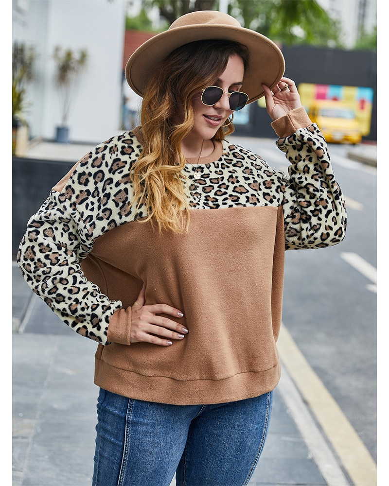 Fioncrow Stitching Hoodie Women's Plus Size Pullover Leopard Sweatshirt Long Sleeve Crew Neck Casual Loose Fall Women's Clothing