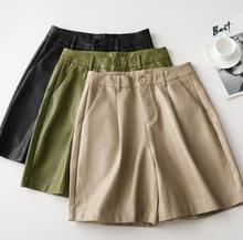 Toppies-short en Faux cuir PU ample, taille haute, Bermuda ample, nouvelle collection 2020