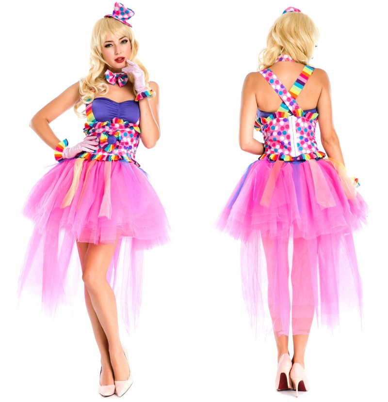 Classic Halloween Costume Candy Color Clown Clothing Fairy Adult Women Girls Clown Dress