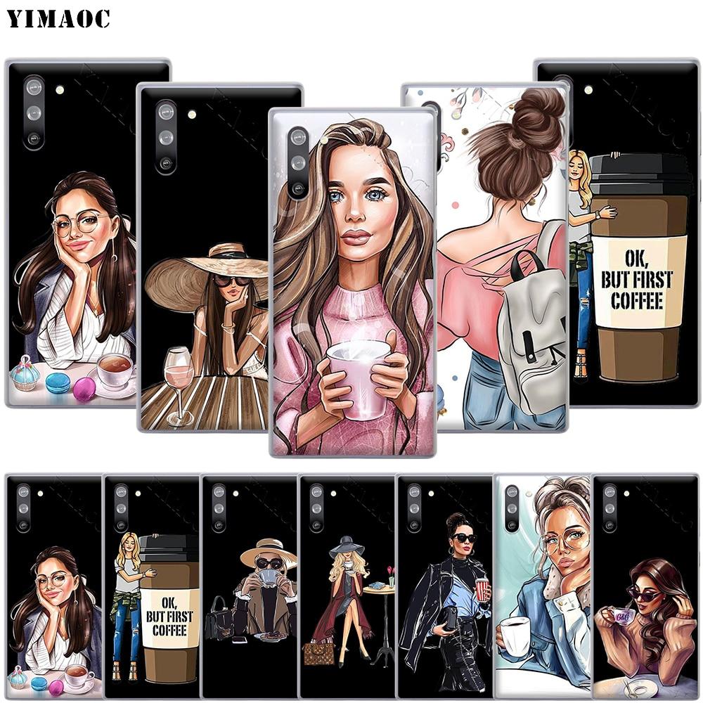 YIMAOC Vogue Princess Girls coffee Case for Samsung Galaxy S10 S9 S8 S7 Plus A70 A60 A50 A40 A30 A20 A10 A50S A30S A20S