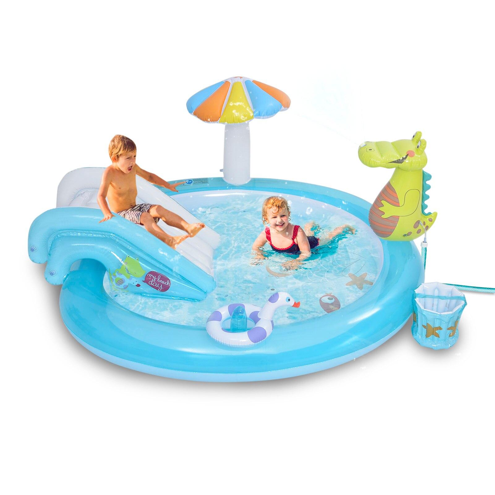 حوض سباحة قابل للنفخ تمساح ماء منزلق الفناء الخلفي رذاذ ماء حمام سباحة أطفال لعب مركز المنزل ألعاب رياضية مائية حمام سباحة للأطفال