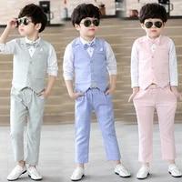 3pcs spring formal boy wedding suits dresses children school outfits vest shirt pants kids party costumes summer toddler cltohes