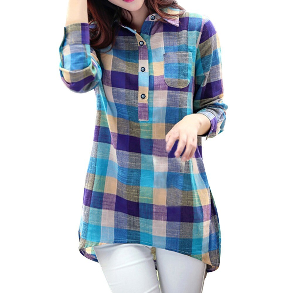 Female Clothes Top Fashion Plaid Shirts Women Tops Long Sleeve Turn Down Collar Button Slim Shirt Ca