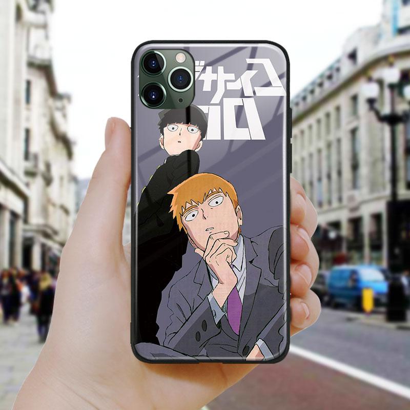 Arte de anime mob psycho 100 para Apple iPhone SE 6 6s 7 8 Plus X XR XS 11 Pro MAX funda de silicona suave de vidrio para teléfono