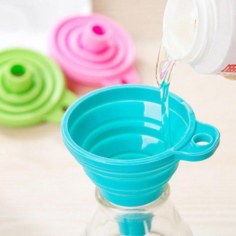 Embudo plegable de silicona, embudo portátil plegable para colgar, dispensador de líquidos para el hogar, utensilios de Mini embudo plegable para cocina #15