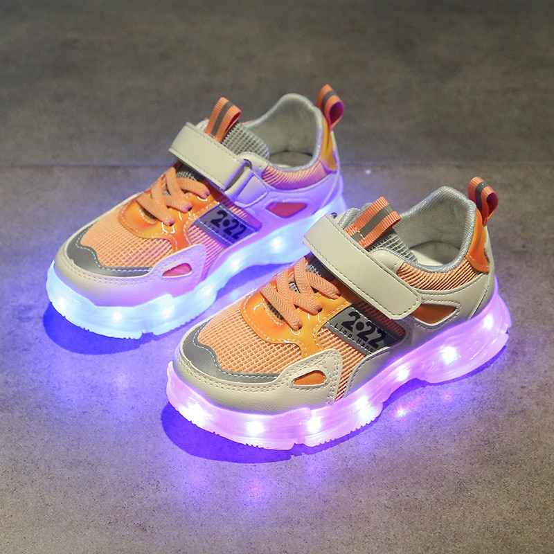 Spring and Summer 2021  Children's LED Lights for Boys and Girls Casual Sports  Korean Fashion Running Kids Shoes CS88