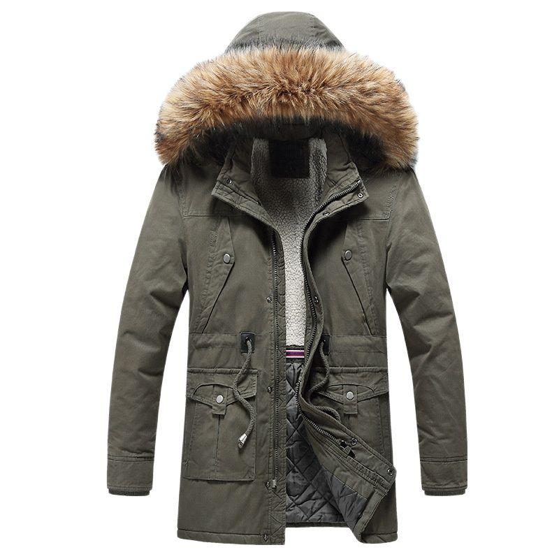 Зимняя куртка, Мужская Флисовая парка, Мужская теплая шелковая куртка с капюшоном, плотная повседневная мужская зимняя куртка, пальто, капю...
